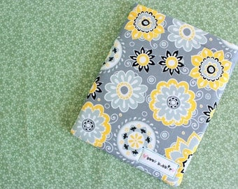 Gray Floral Book Sleeve