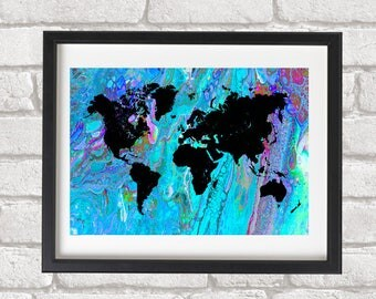 Abstract painting Art Print World Map Blue