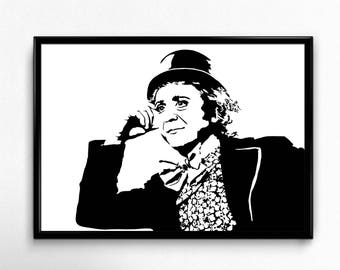 Willy Wonka Art Print - Super Detailed Giclee Print of Gene Wilder as Willy Wonka and the Chocolate Factory - Multiple Sizes and Colors
