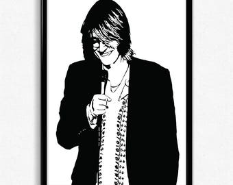 Mitch Hedberg Art Print - Super Detailed Giclee Print of Stand-Up Comedian Mitch Hedberg - Multiple Sizes and Colors
