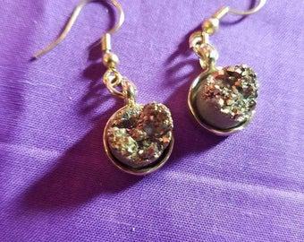 Gold Rock Crystal Earrings