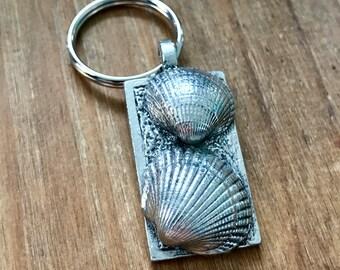 Seaside Beach Shells - Pewter Keyring