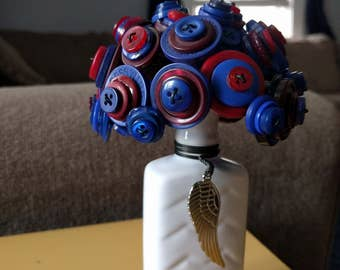 Red and Blue Button Bouquet