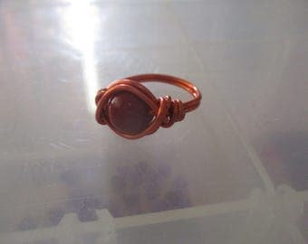 Red Bead and Copper Wire Ring