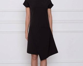 Black short sleeve assymetric dress