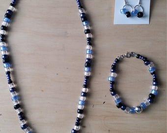 Blue-black jewelry set