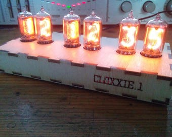 Hand made wooden Nixie Clock with beautiful US made tubes