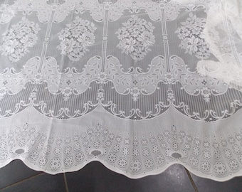 Vintage French Net Curtain old lace large window fabric / textile
