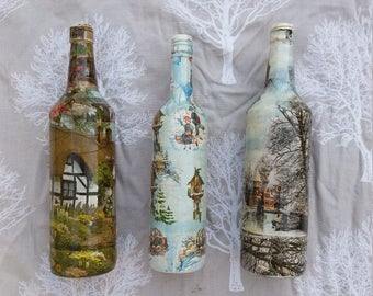 Set of 3 decorative decoupage bottles, gorgeous countryside themed, retro/vintage style