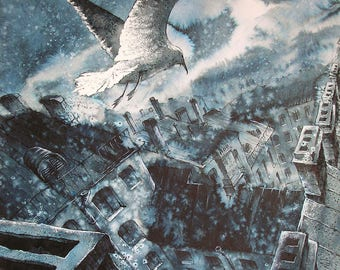 "Free flight Art Original Ink Painting by Zuev Aleksei, 20x20"" painting, Ink city landscape, flying gulls art, Blue Black Indigo"