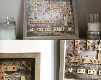 """Personalised Scrabble Puzzle Picture Art. ( picture shown in 12x12"""" frame )"""