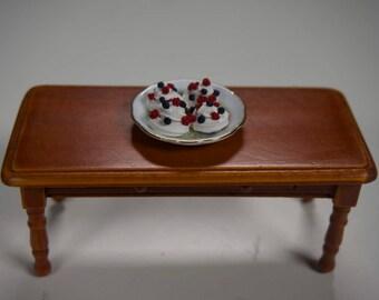 miniature fruit pavlovas, meringue nests, miniature dollhouse food, 1:12 scale