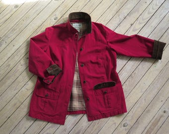 L.L. Bean Red, Blanket-lined Chore Coat with Corduroy Accents, Large