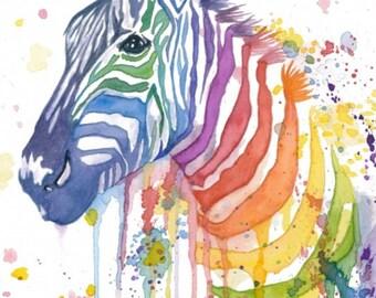 Zebra Watercolor Painting (print of original painting)