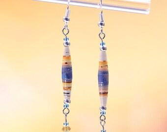 Handmade Desert Sunrise with Czech Crystals BoHo Style Dangle Earrings #339