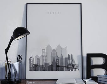 Mumbai Art Mumbai Watercolor Mumbai Multicolor Mumbai Wall Art Mumbai Wall Decor Mumbai Home Decor Mumbai Skyline Mumbai Print Mumbai Poster
