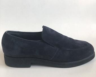 Vintage Navy Blue Suede Loafers size 8 Hushpuppies Hipster Platform Creeper Comfort