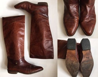 Vintage Sesto Meucci of Florence Brown Cognac Leather Riding Boots 8 Festival Equestrian Boho Bohemian Hipster