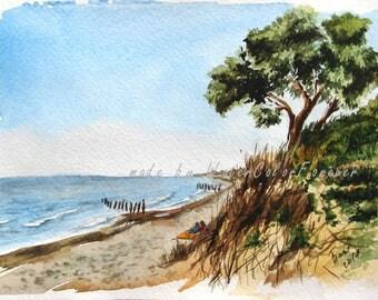 Watercolor Baltic sea, original watercolor, Watercolor painting, seascape, dunes, sea, watercolor art