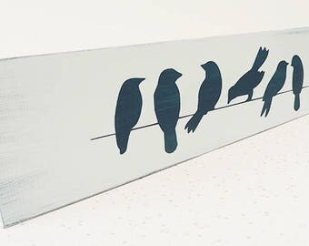 birds on a wire, wall art, wood art, wood sign, blue bird decor, bird art, gift for her, new home gift, blue wall decor, new home present