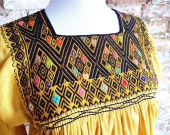 Mexican Embroidered Top / Mexican Peasant Blouse /Mexican Embroidered Blouse / Bohemian Embroidered Top / Yellow Mexican Top