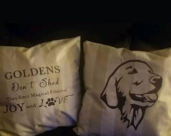 Golden Retriever set of two pillow cases