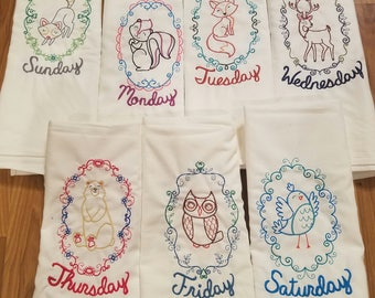 Woodlands Days of the Week Embroidered Dish Towel Set - Kitchen Gifts - Towels - Animals