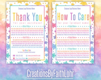 Thank You How To Care Cards Marketing Tools for Consultants Rainbow Stars LLR