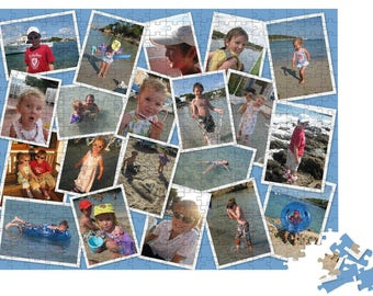 500 or 1000 PIECES personalised jigsaw photo collage puzzle.