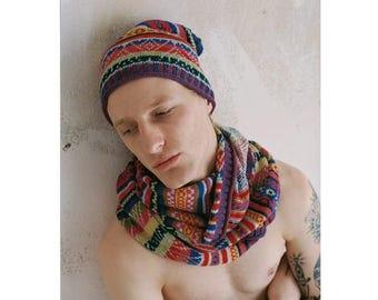 """Beanie Hat Knit Beanie Rainbow """"Cuzco"""" - ANNAMARIAANGELIKA - handmade in Peru, fair fashion - wool hat, striped, multicolor"""