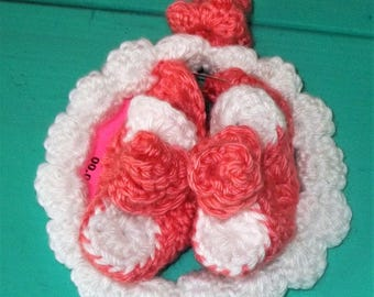 Hand Crochet Coral White Baby Booties Matching Headband