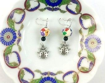 lady bugs handmade earrings