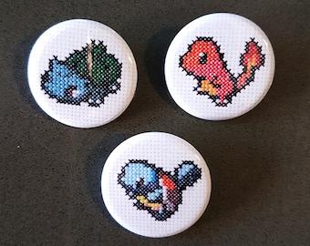 Cross-Stitch Pokemon Buttons - Kanto Starters