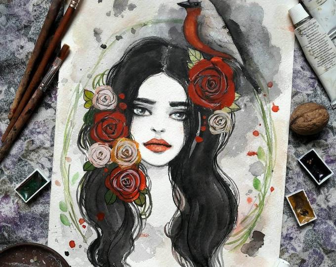 Floral Girl ORIGINAL watercolor painting by Tatiana Boiko, wall hanging, wall art, fashion illustration, gift, decor, roses Russian art