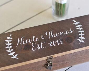 Personalized Rustic Wood Wine Box Keepsake Wedding Gift Bridal Shower Morgann Hill Designs (Item Number MHD20060)