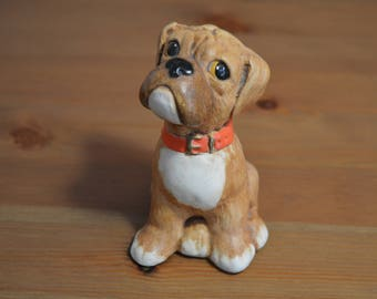 "Hand painted Tinker Ware Sitting Boxer /Bulldog pup ""Butch"" made in England"