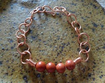 Natural red jasper Copper Bracelet