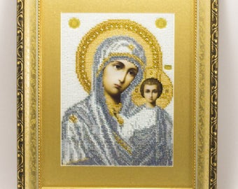 Bead-embroidered icon Mother of God Holy Virgin Maria Orthodox picture in grey gift present beadwork embroidery beads art