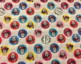 Wheres waldo Find Waldo fabric sewing material by the yard cotton new