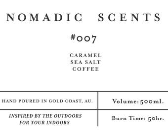 Nomadic Scents - #007 - Caramel / Sea Salt / Coffee - Hand Poured 100% Soy Wax Wood Wick Enamel Mug Candle - 50 hrs +