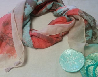 Modern multi-colour scarf  versatile scarf orange light green fawn scarf