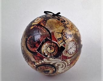 Venetian, Handcrafted, Paper Mache Christamas Ball - Orologio Ambre