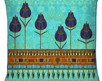Egyptian Lotus Silk Cushion Cover