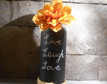 Live Laugh love chalkboard bottle