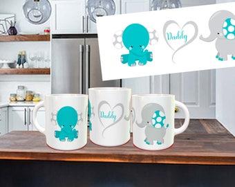 Blue Elephant Daddy Coffee Mug, Daddy, thank you mug, not vinyl, dishwasher safe coffee mug gift