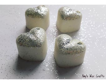 4 Floral, White Musk, Scented, Soy Wax, Heart, Wax Melts, Fragrance