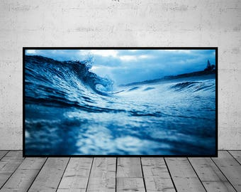 Ocean Photography, Waves Print, Ocean Waves Photo, Water Wall Art Print, Black-White-Blue Photo, Printable Poster, Digital Download, 3 JPG's
