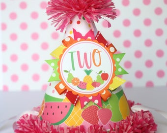 Tutti Fruity Birthday Party Hat - Two-ti Fruitti Birthday - Girl Second Birthday - Summer Party Decorations - Two-ti Fruity Birthday Outfit