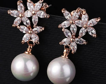 Gold pearl and crystal bridal earrings