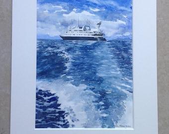 Mediterranean Méditerranée seascape  marine zeezicht met boot watercolor painting aquarelle peinture bateau boat ship